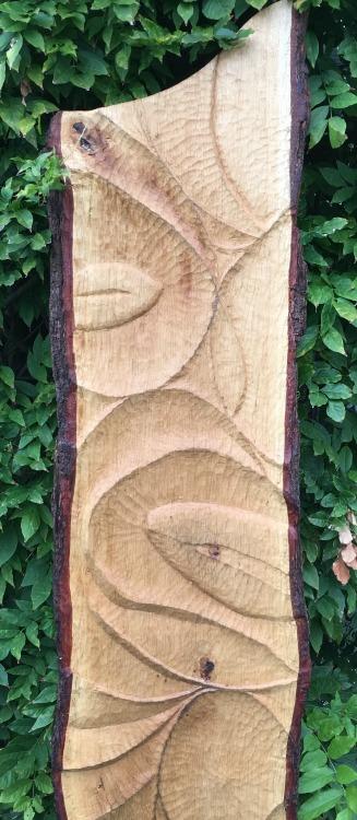 Reliëfsnijwerk in een doorgezaagde boomstam